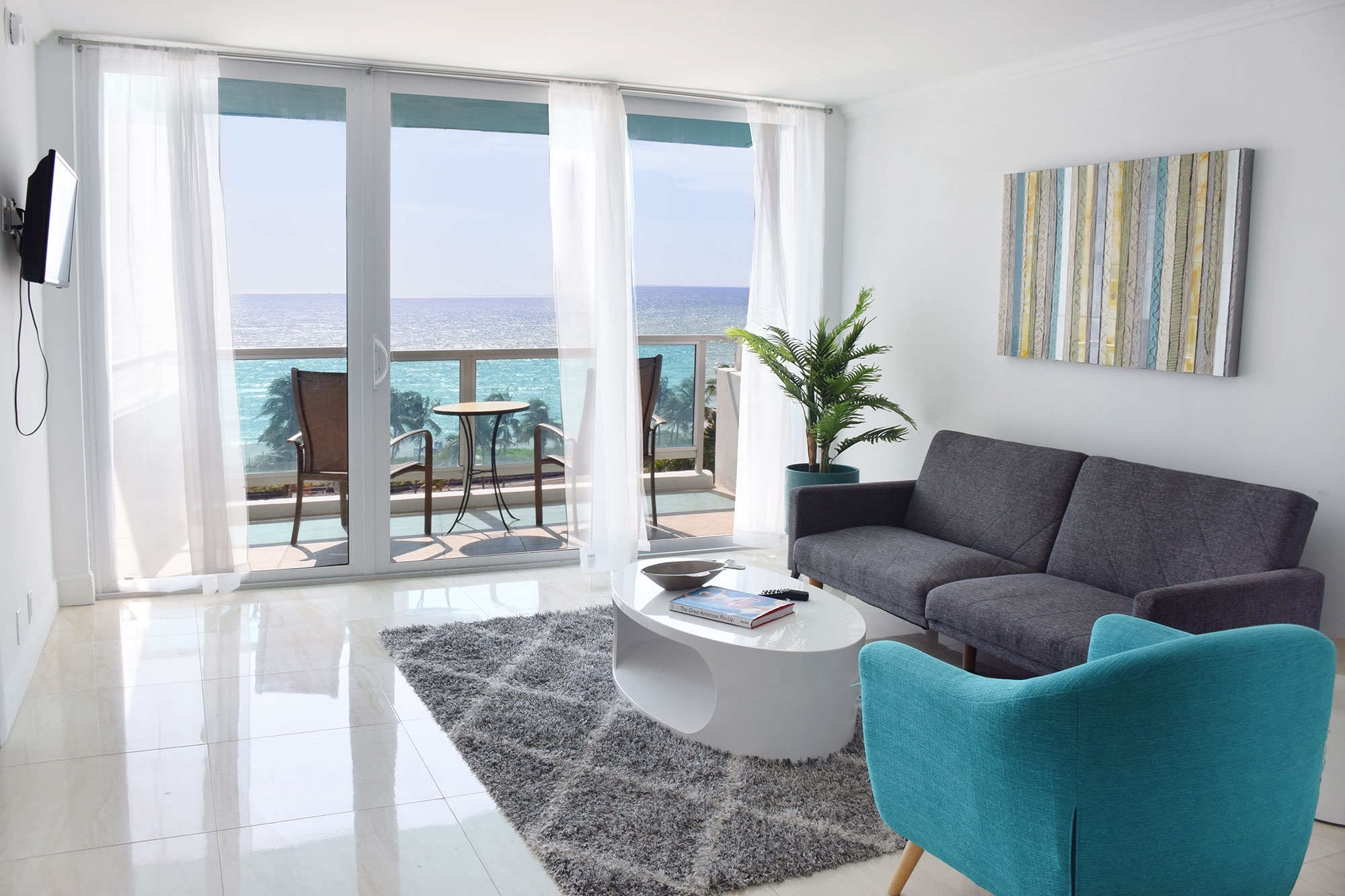 Ocean View Living Room at Seacoast Suites